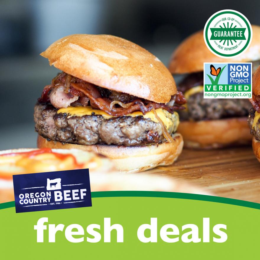 bacon burgers with cheddar cheese using non-GMO Oregon Country Beef at Community Food Co-op