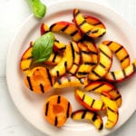 gropped apricots and peaches with basil