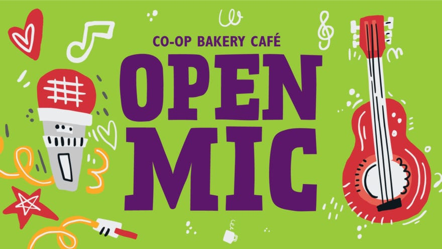 poster for co-op bakery cafe open mic on the last sunday of every month