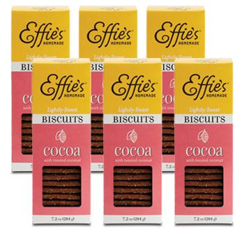 several packages of effie's gourmet cocoa biscuits